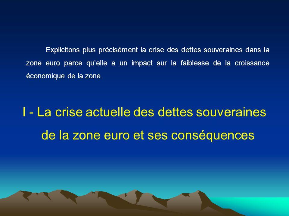 Explicitons plus précisément la crise des dettes souveraines dans la zone euro parce qu'elle a un impact sur la faiblesse de la croissance économique de la zone.
