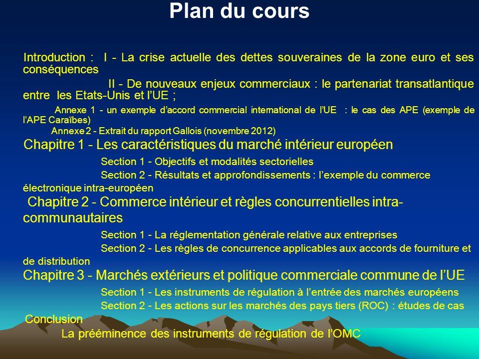 Plan du cours Introduction : I - La crise actuelle des dettes souveraines de la zone euro et ses conséquences.