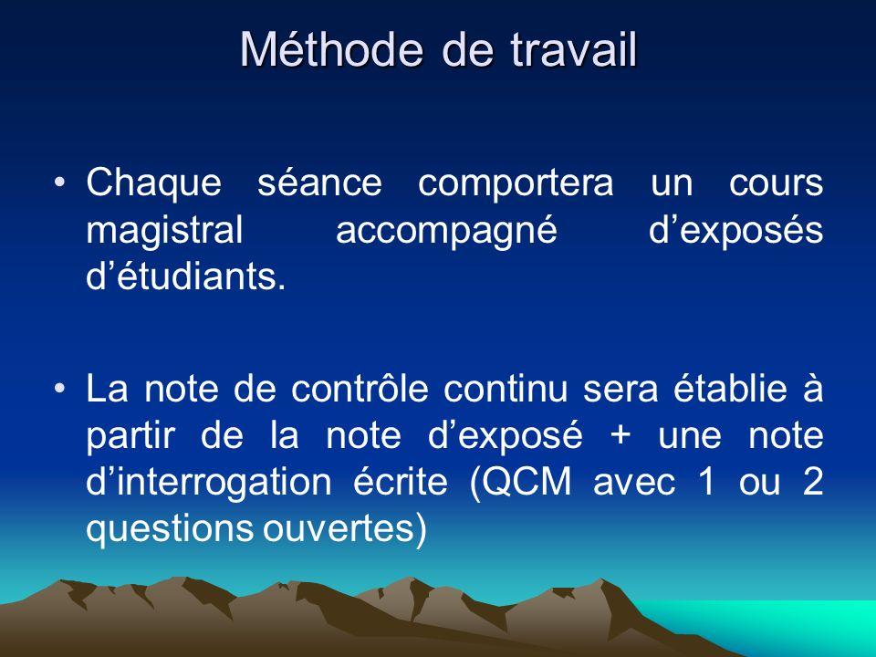 Méthode de travail Chaque séance comportera un cours magistral accompagné d'exposés d'étudiants.