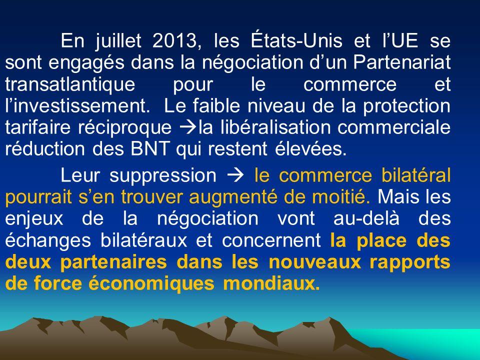 En juillet 2013, les États-Unis et l'UE se sont engagés dans la négociation d'un Partenariat transatlantique pour le commerce et l'investissement.