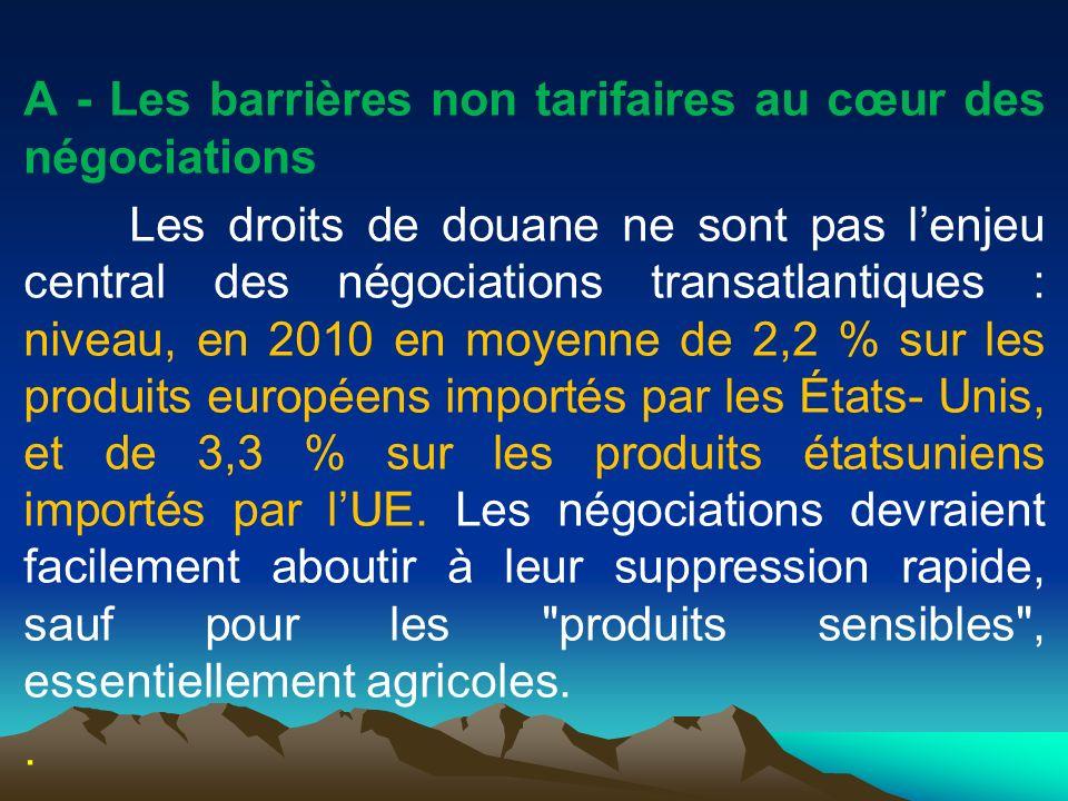 A - Les barrières non tarifaires au cœur des négociations Les droits de douane ne sont pas l'enjeu central des négociations transatlantiques : niveau, en 2010 en moyenne de 2,2 % sur les produits européens importés par les États- Unis, et de 3,3 % sur les produits étatsuniens importés par l'UE.
