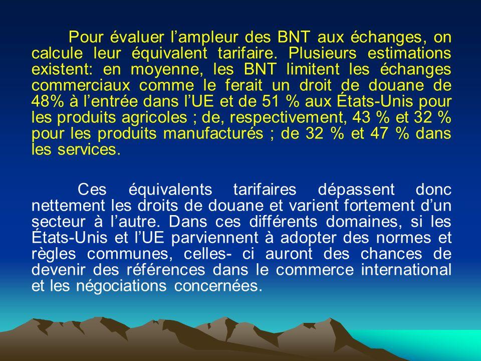 Pour évaluer l'ampleur des BNT aux échanges, on calcule leur équivalent tarifaire.