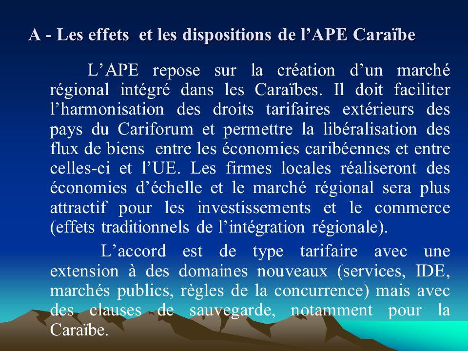 A - Les effets et les dispositions de l'APE Caraïbe