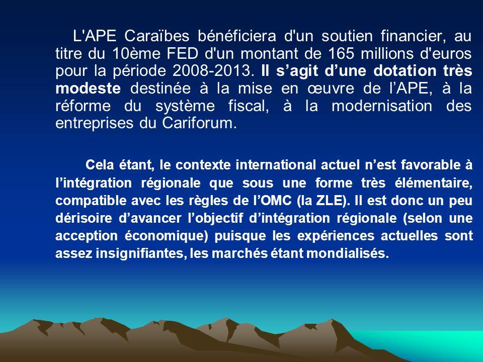 L APE Caraïbes bénéficiera d un soutien financier, au titre du 10ème FED d un montant de 165 millions d euros pour la période 2008-2013. Il s'agit d'une dotation très modeste destinée à la mise en œuvre de l'APE, à la réforme du système fiscal, à la modernisation des entreprises du Cariforum.