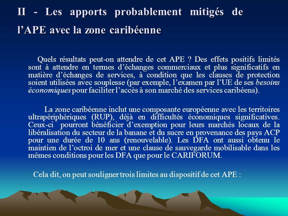 II - Les apports probablement mitigés de l'APE avec la zone caribéenne
