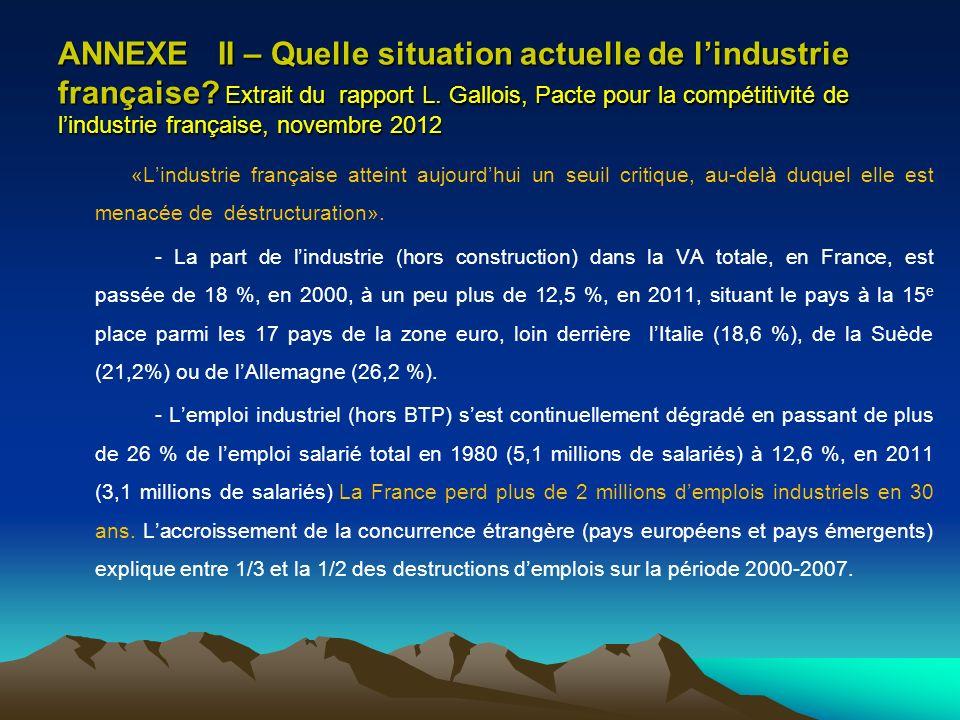 ANNEXE II – Quelle situation actuelle de l'industrie française