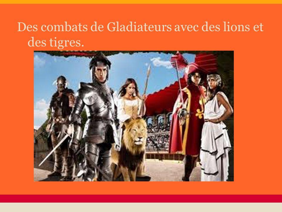 Des combats de Gladiateurs avec des lions et des tigres.