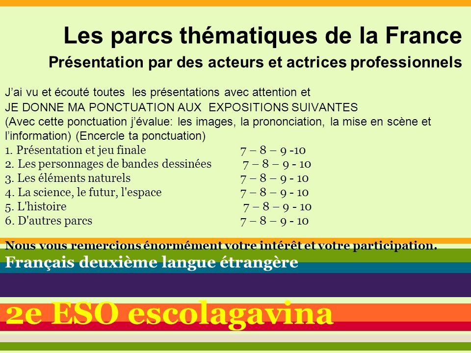 2e ESO escolagavina Les parcs thématiques de la France