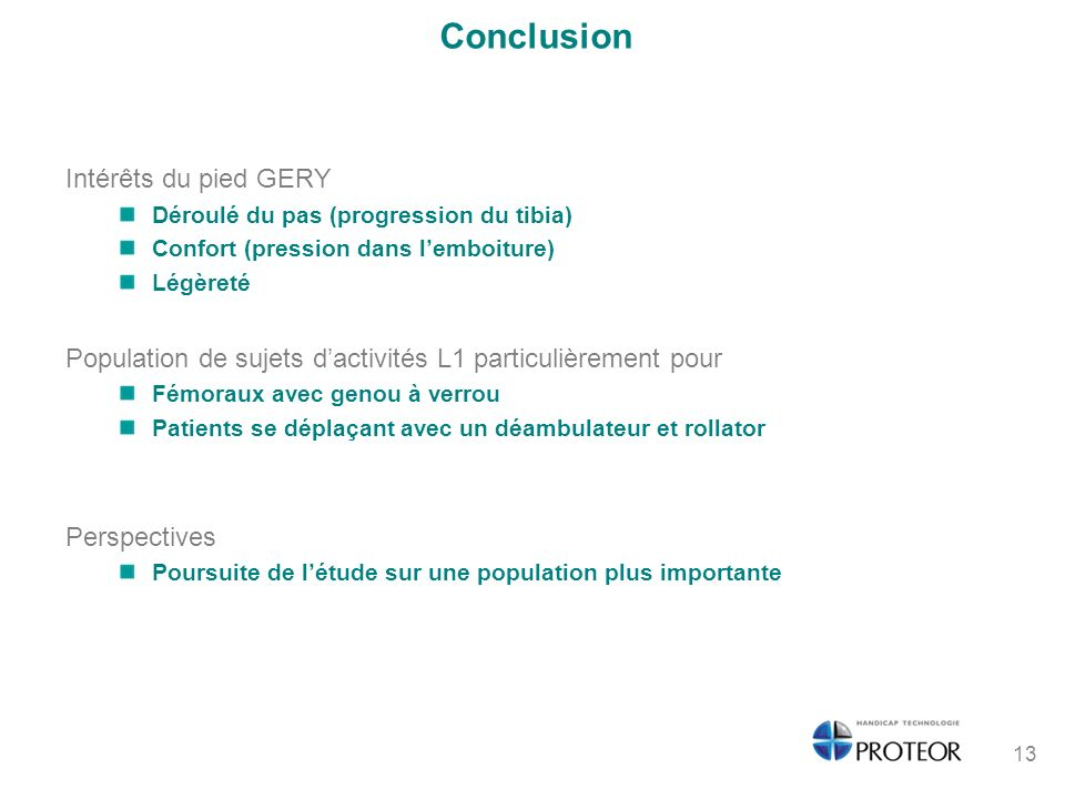 Conclusion Intérêts du pied GERY
