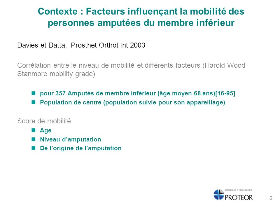 Contexte : Facteurs influençant la mobilité des personnes amputées du membre inférieur