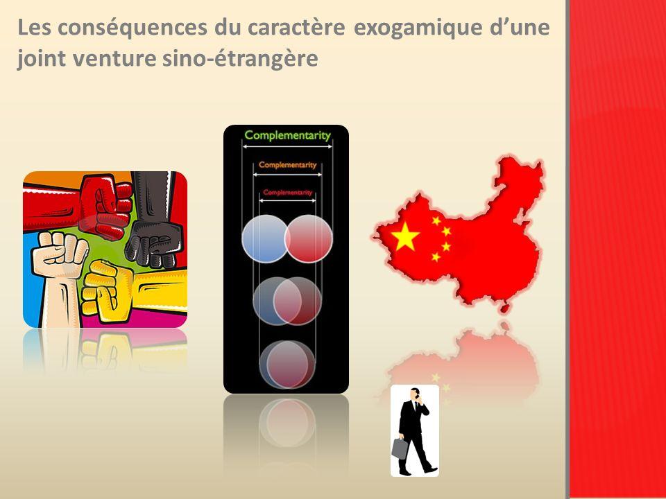 Les conséquences du caractère exogamique d'une joint venture sino-étrangère