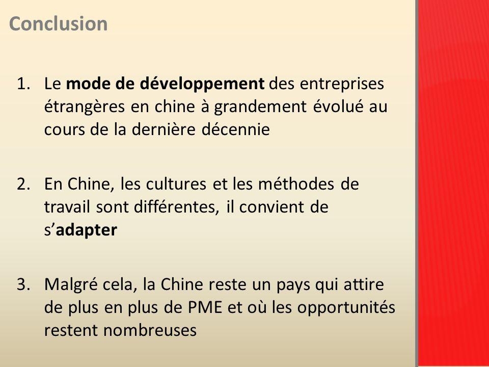 Conclusion Le mode de développement des entreprises étrangères en chine à grandement évolué au cours de la dernière décennie.
