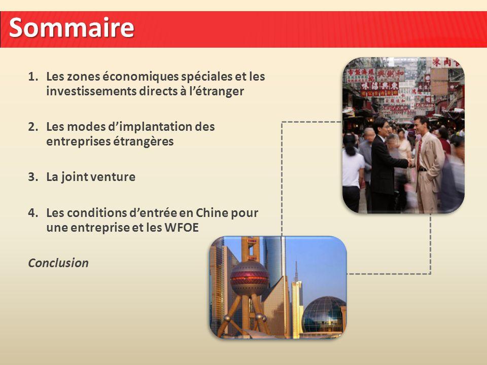 Sommaire Les zones économiques spéciales et les investissements directs à l'étranger. Les modes d'implantation des entreprises étrangères.