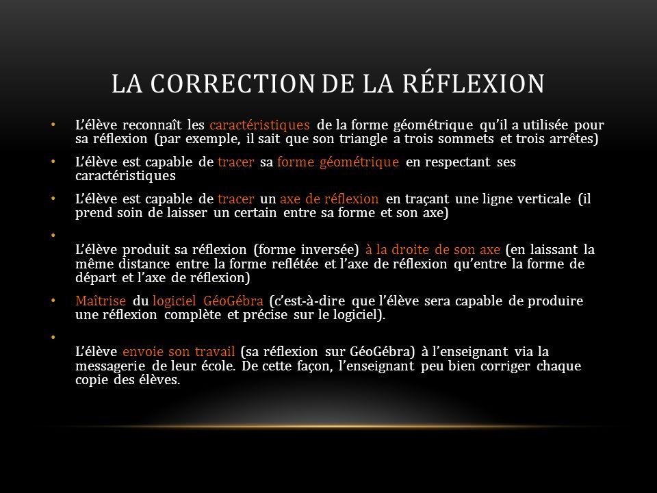 LA CORRECTION DE LA RÉFLEXION