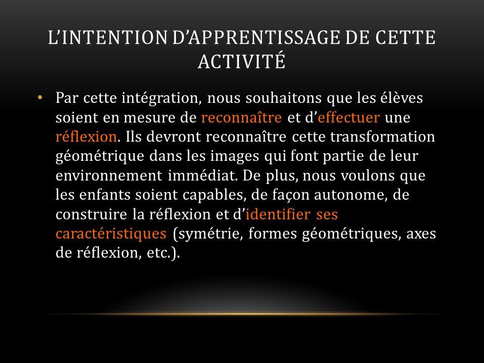 L'INTENTION D'APPRENTISSAGE DE CETTE ACTIVITÉ