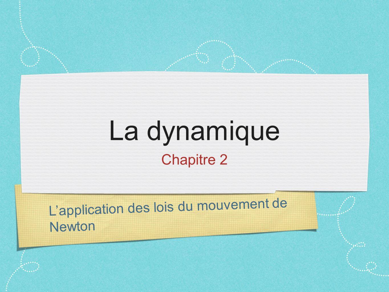 La dynamique Chapitre 2 L'application des lois du mouvement de Newton