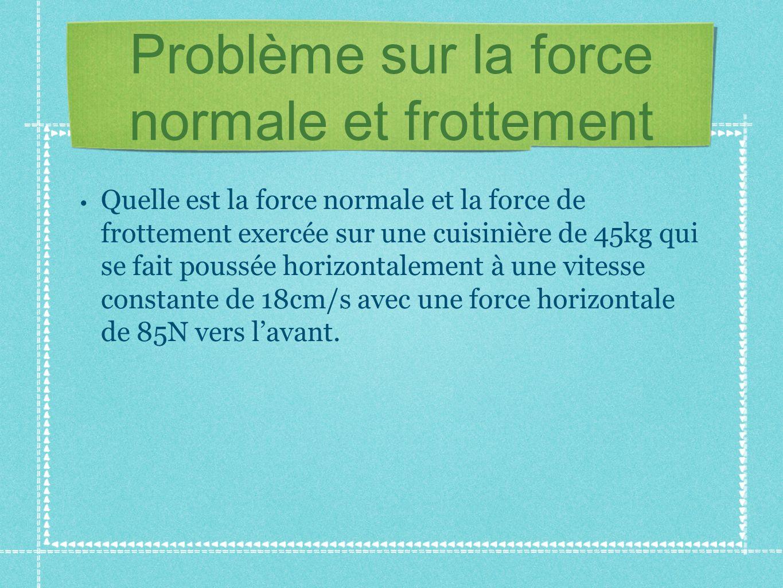 Problème sur la force normale et frottement