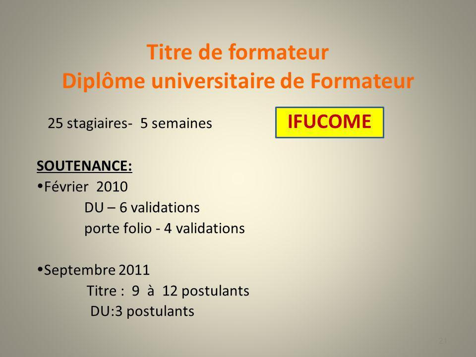 Diplôme universitaire de Formateur