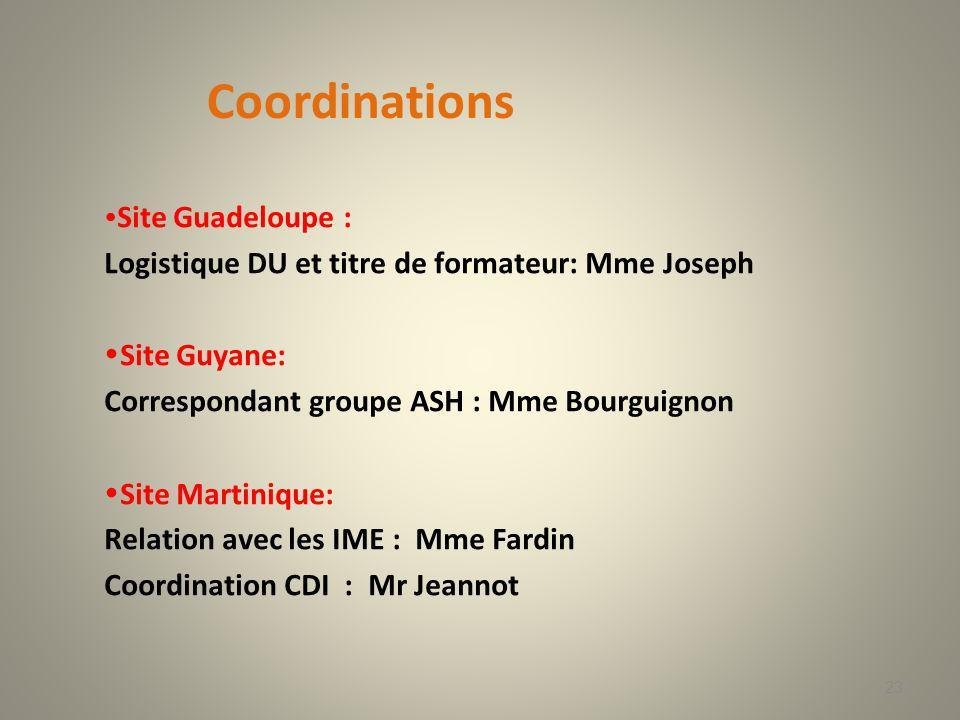 Coordinations Logistique DU et titre de formateur: Mme Joseph