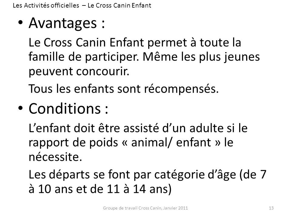 Avantages : Conditions :