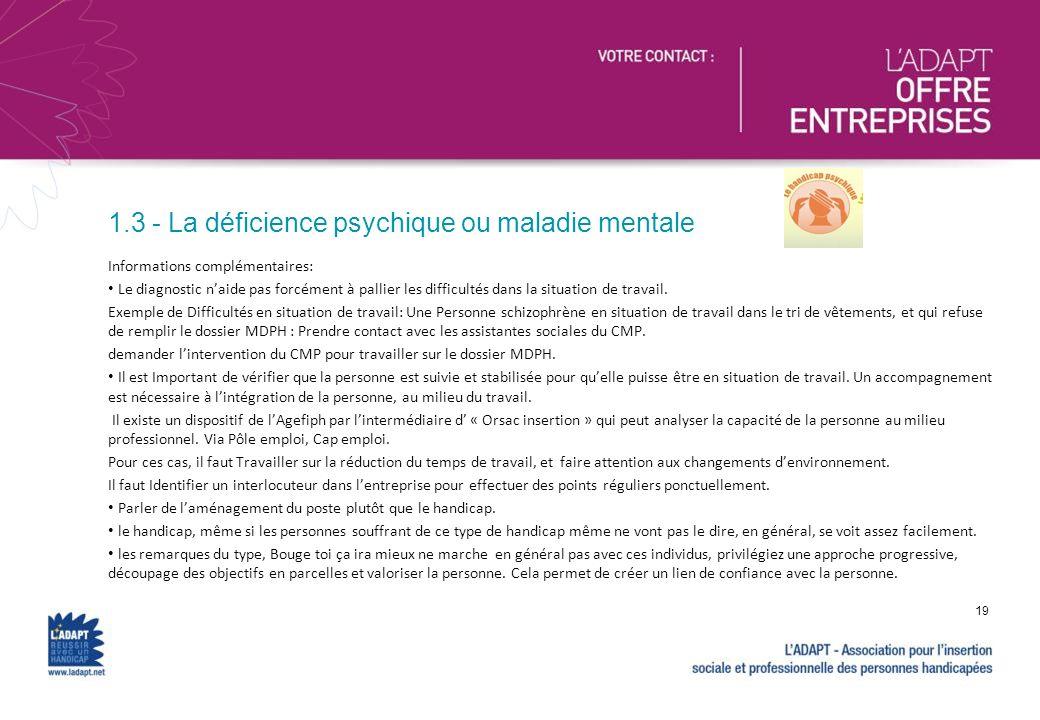 1.3 - La déficience psychique ou maladie mentale