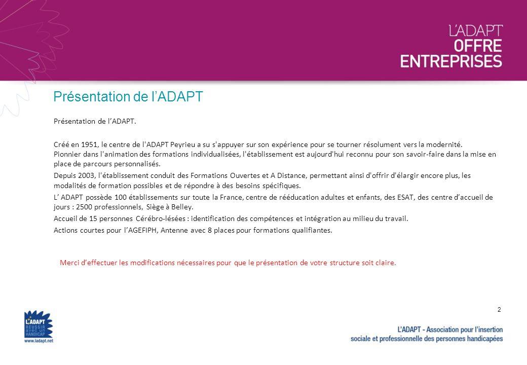 Présentation de l'ADAPT