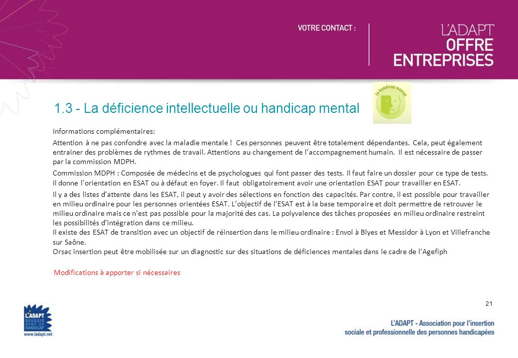 1.3 - La déficience intellectuelle ou handicap mental
