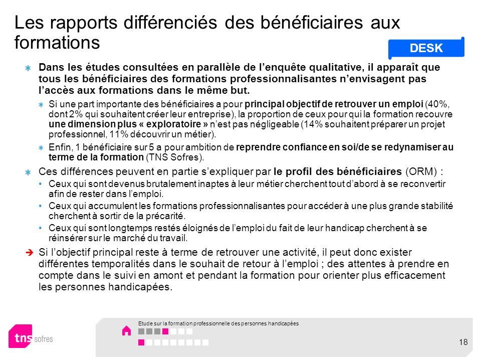 Les rapports différenciés des bénéficiaires aux formations