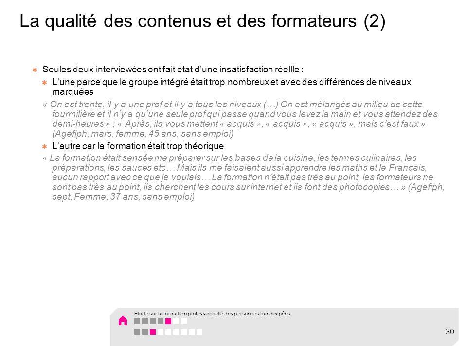 La qualité des contenus et des formateurs (2)
