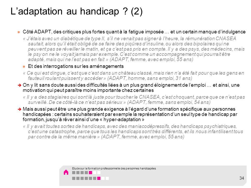 L'adaptation au handicap (2)