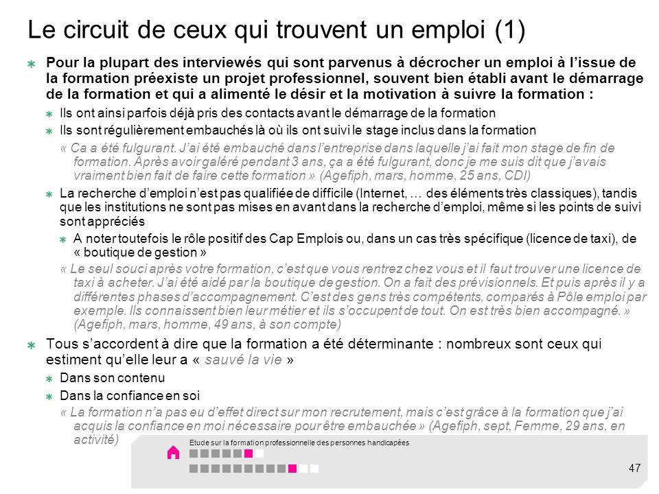 Le circuit de ceux qui trouvent un emploi (1)
