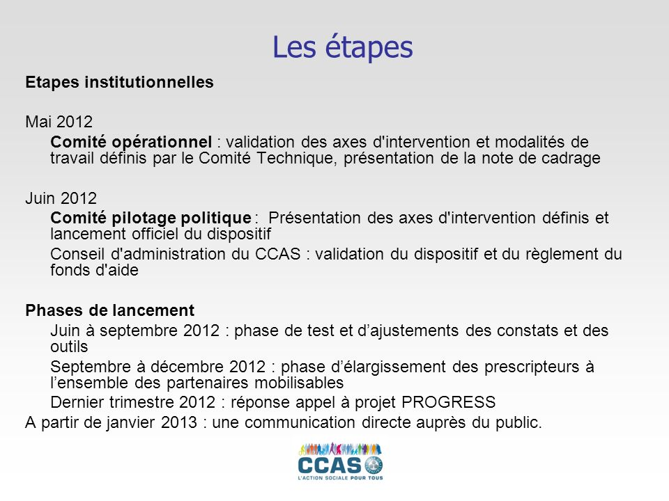 Les étapes Etapes institutionnelles Mai 2012