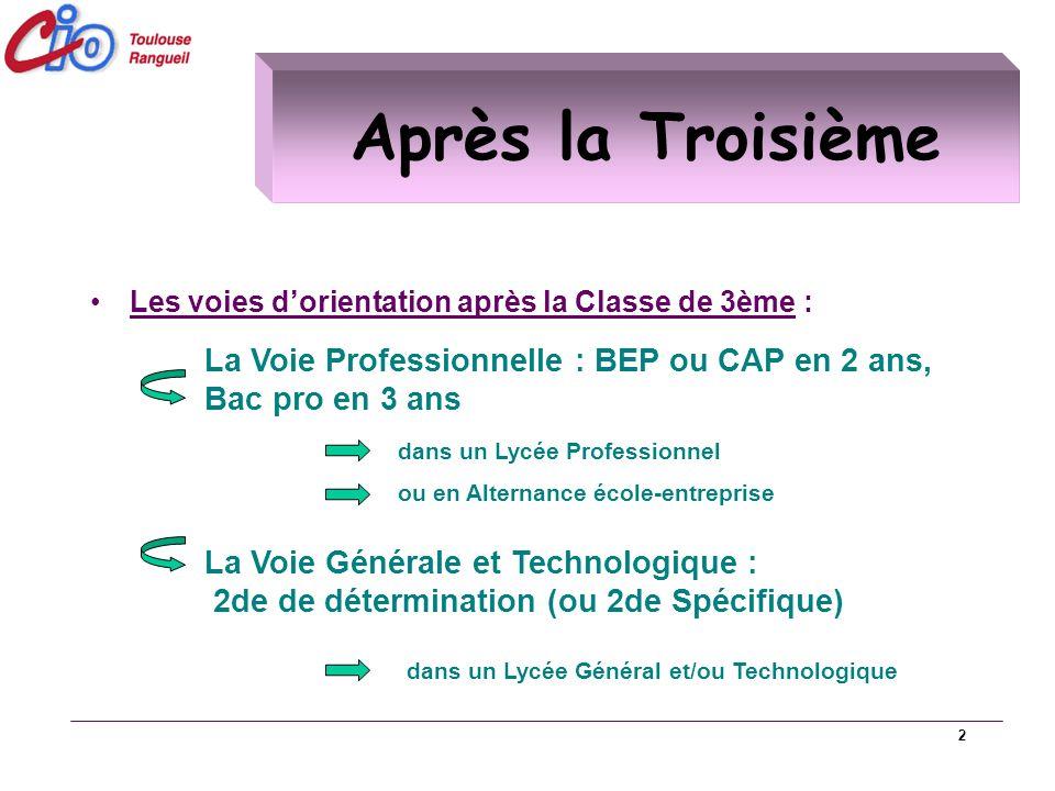 Après la Troisième Les voies d'orientation après la Classe de 3ème : La Voie Professionnelle : BEP ou CAP en 2 ans, Bac pro en 3 ans.