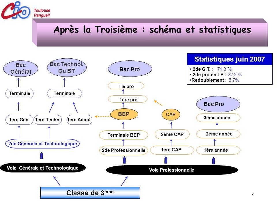 Après la Troisième : schéma et statistiques