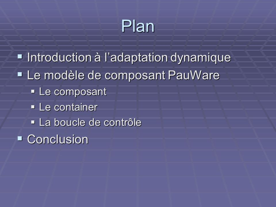 Plan Introduction à l'adaptation dynamique