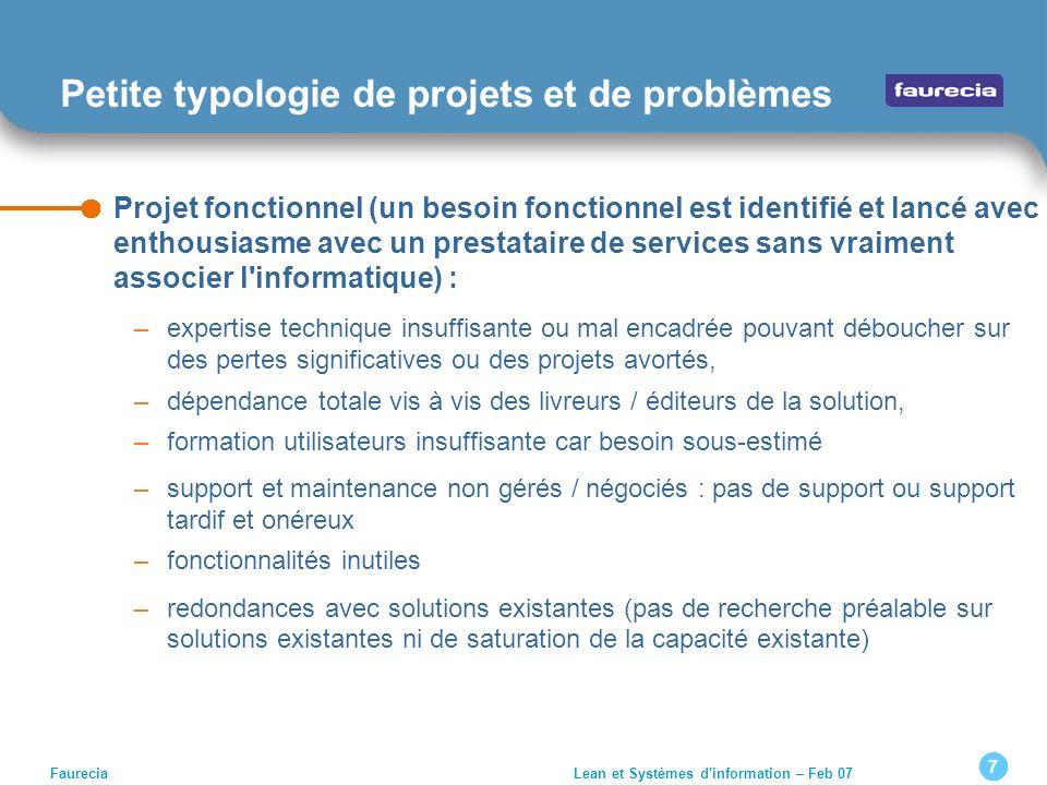 Petite typologie de projets et de problèmes