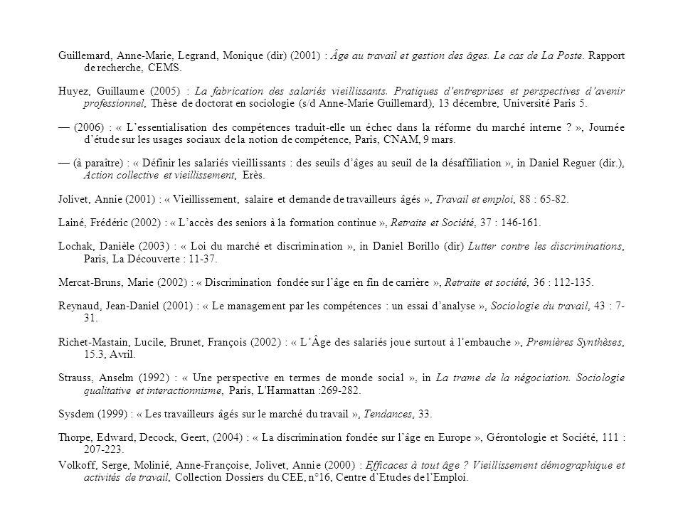 Guillemard, Anne-Marie, Legrand, Monique (dir) (2001) : Âge au travail et gestion des âges. Le cas de La Poste. Rapport de recherche, CEMS.