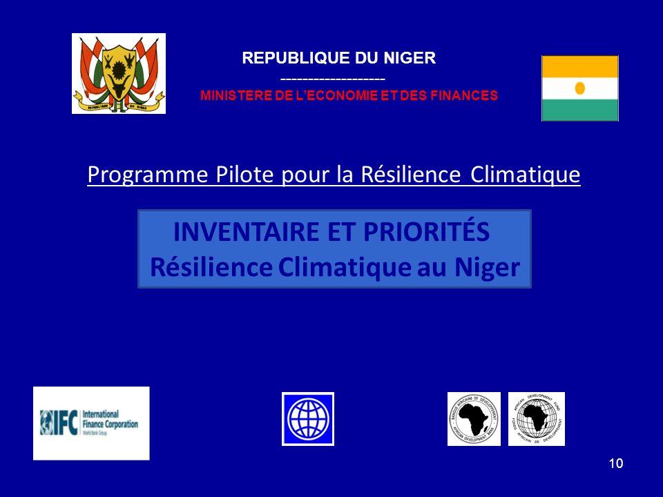 INVENTAIRE ET PRIORITÉS Résilience Climatique au Niger