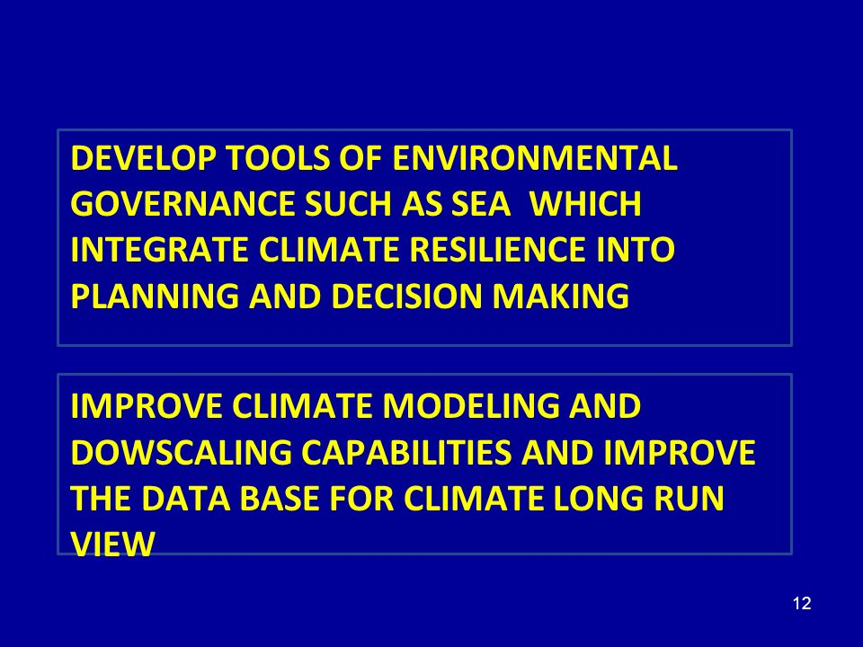 5 PRIORITÉS DEVELOP TOOLS OF ENVIRONMENTAL GOVERNANCE SUCH AS SEA WHICH INTEGRATE CLIMATE RESILIENCE INTO PLANNING AND DECISION MAKING.