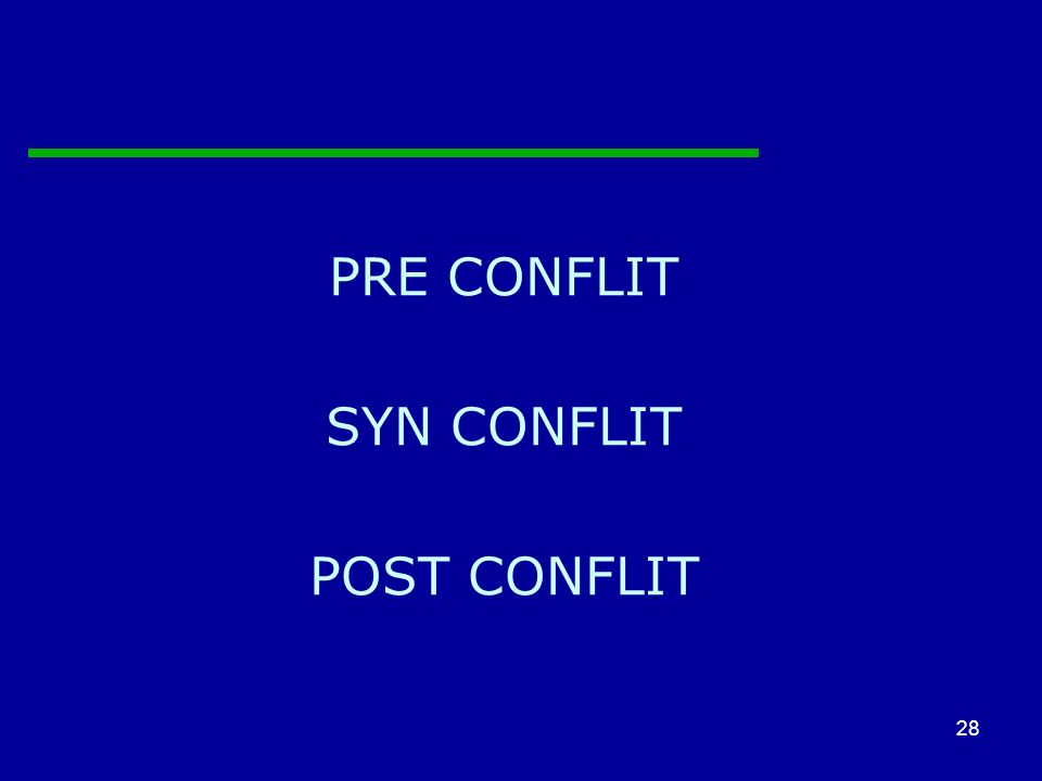 PRE CONFLIT SYN CONFLIT POST CONFLIT