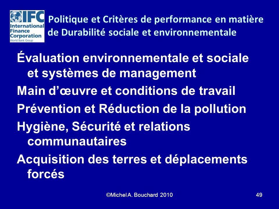 Politique et Critères de performance en matière de Durabilité sociale et environnementale