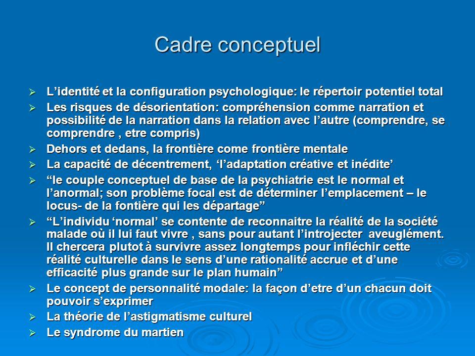 Cadre conceptuel L'identité et la configuration psychologique: le répertoir potentiel total.