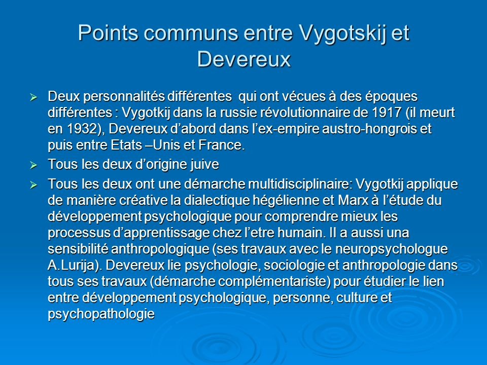 Points communs entre Vygotskij et Devereux