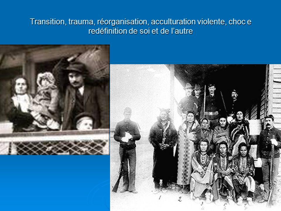 Transition, trauma, réorganisation, acculturation violente, choc e redéfinition de soi et de l'autre