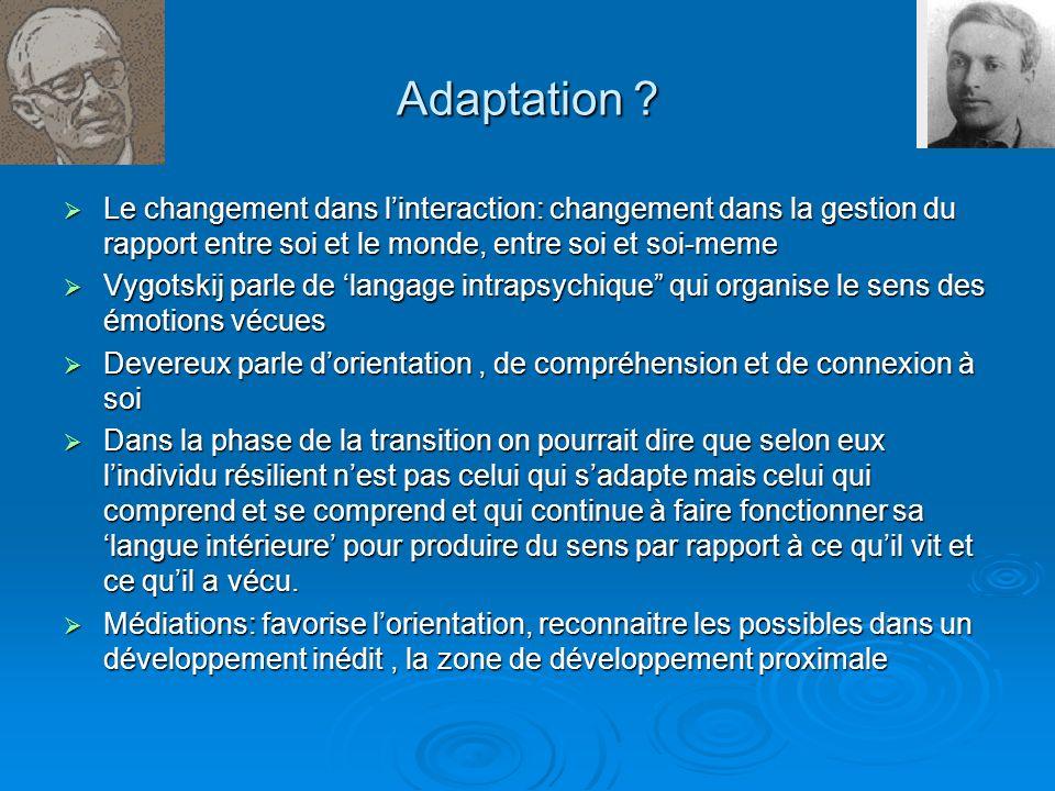 Adaptation Le changement dans l'interaction: changement dans la gestion du rapport entre soi et le monde, entre soi et soi-meme.