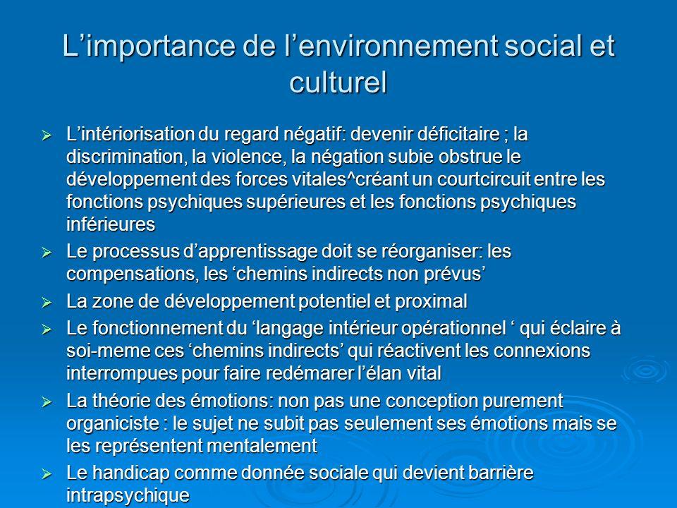 L'importance de l'environnement social et culturel