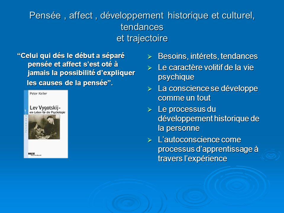 Pensée , affect , développement historique et culturel, tendances et trajectoire