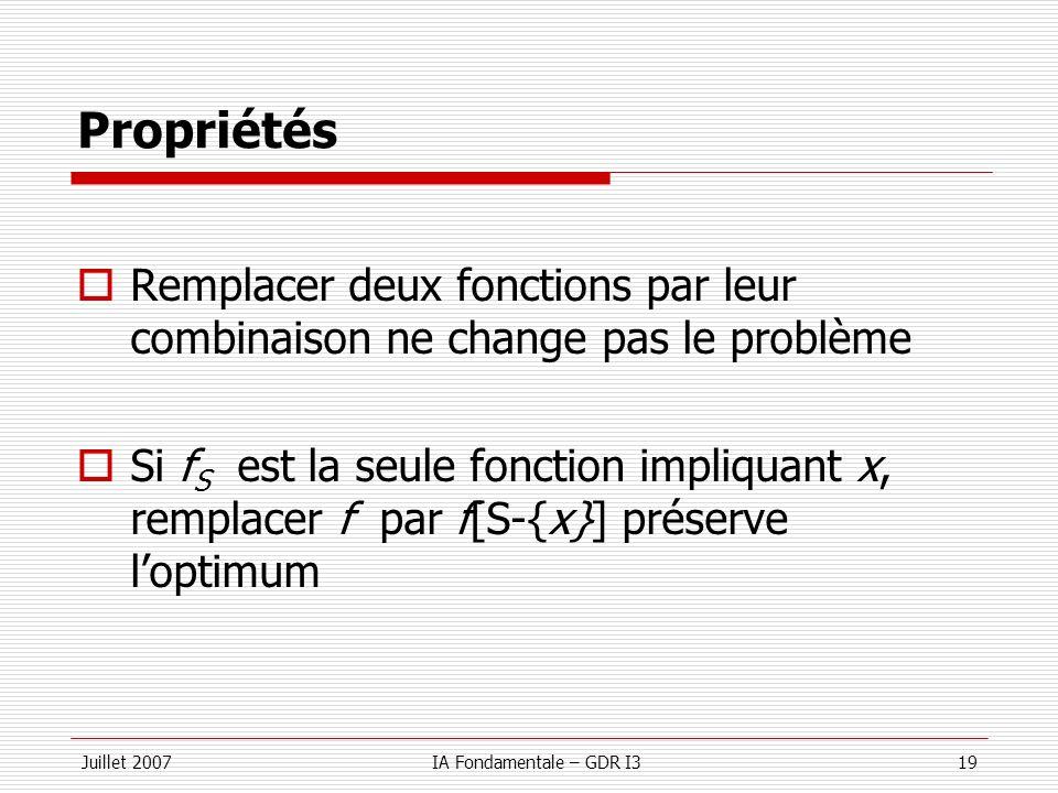 Propriétés Remplacer deux fonctions par leur combinaison ne change pas le problème.