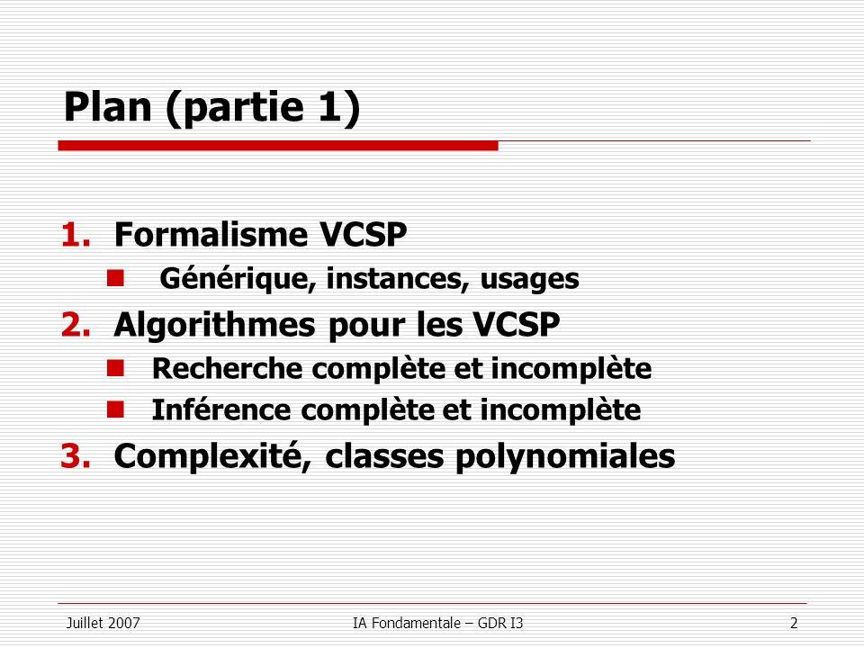 Plan (partie 1) Formalisme VCSP Algorithmes pour les VCSP