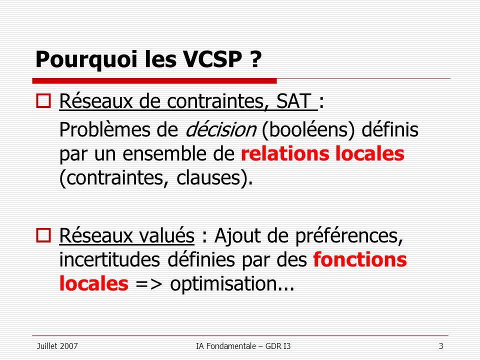 Pourquoi les VCSP Réseaux de contraintes, SAT :